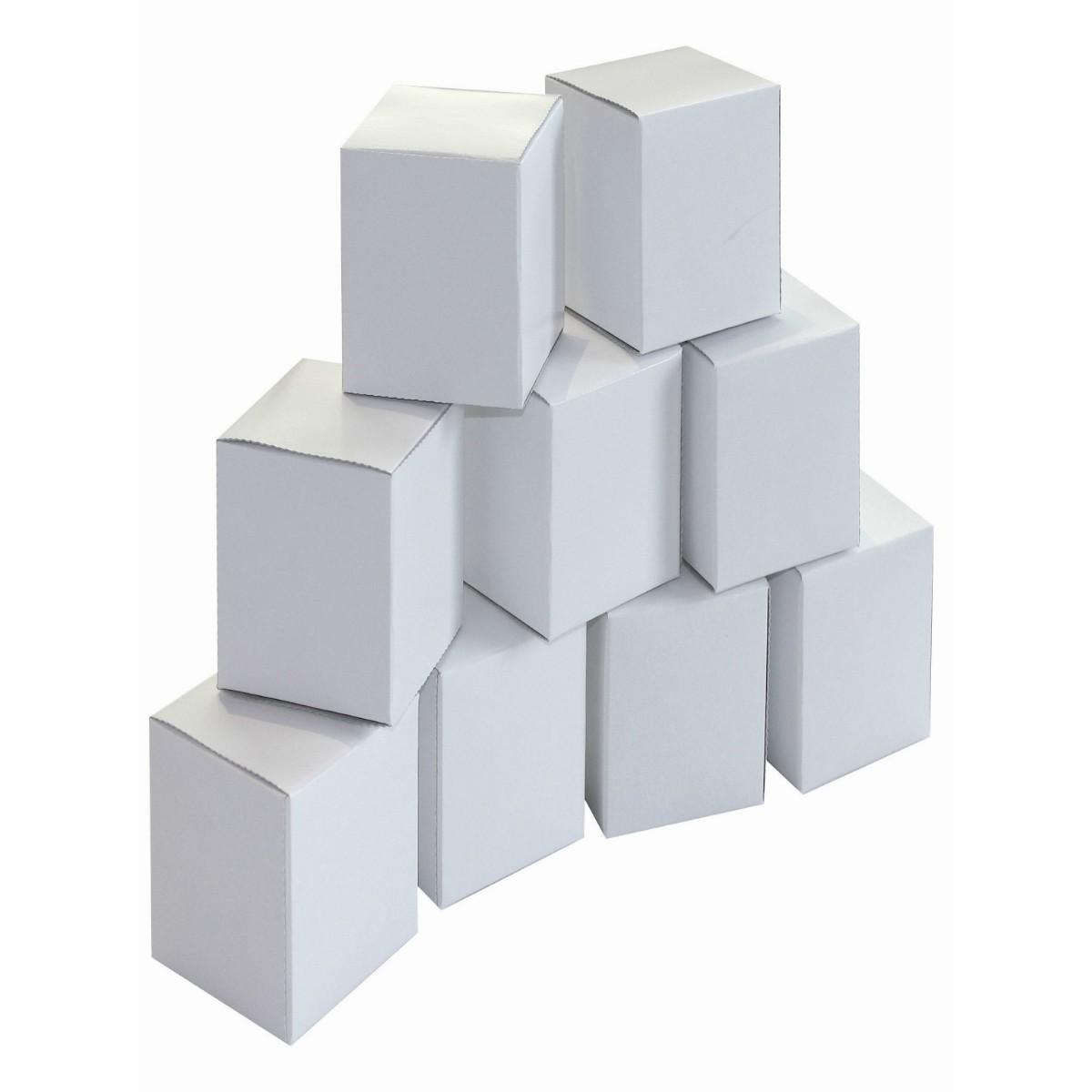 20 Blanko Geschenkschachteln Würfelboxen 6x6xH12,5cm Karton weiß zum Bemalen