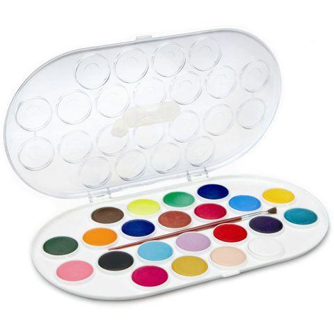 JOVI Tuschkasten - Deckfarbkasten für Kinder - Wasserfarbkasten 22 Farben 30mm