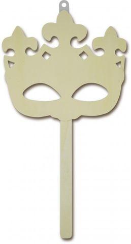 Stabmaske aus Holz - König, Königin - Venezianische Masken Rohlinge zum Basteln und Dekorieren