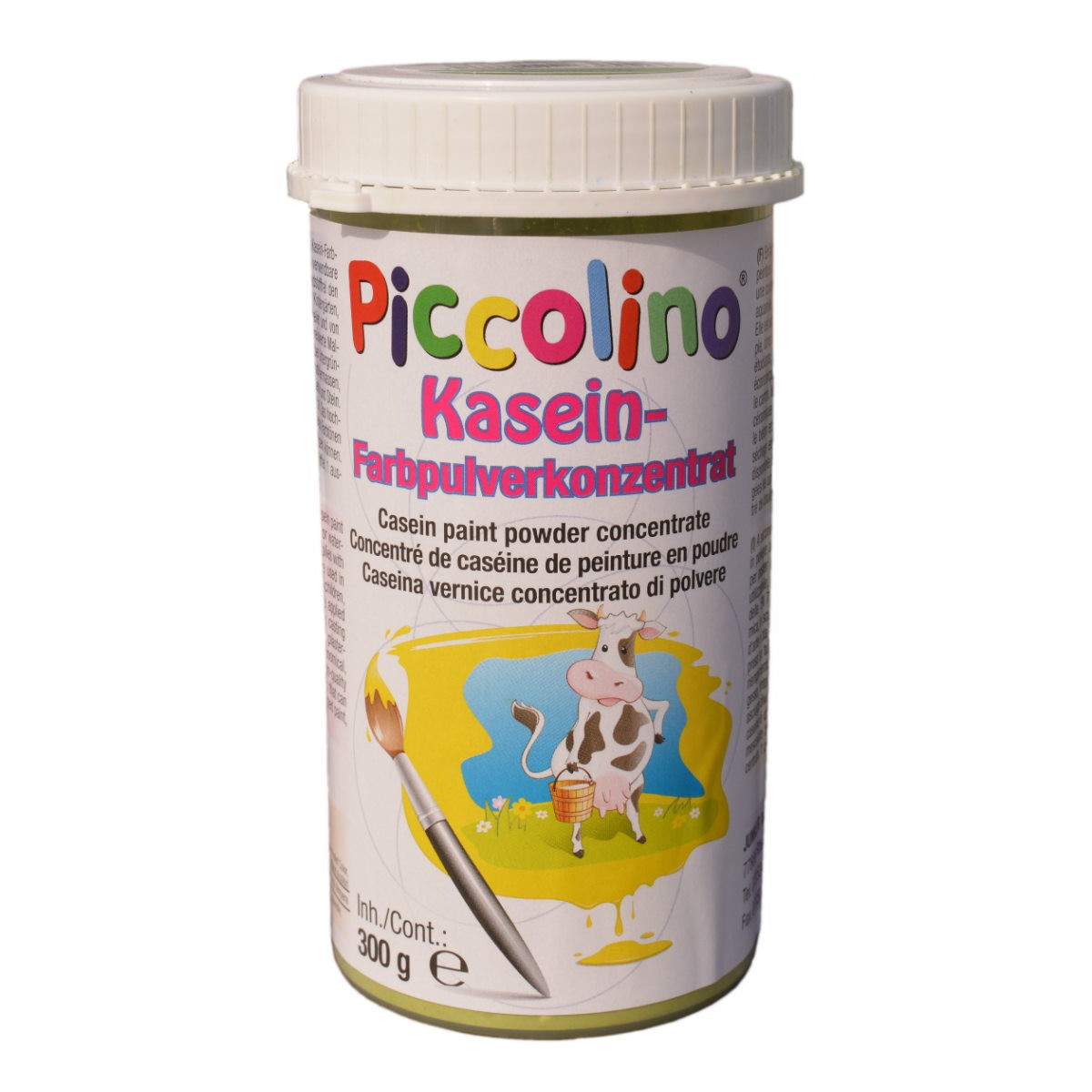 Plakatfarbe Piccolino Kaseinfarbe 300g zitronengelb - Farbpulver zum Selbstanrühren