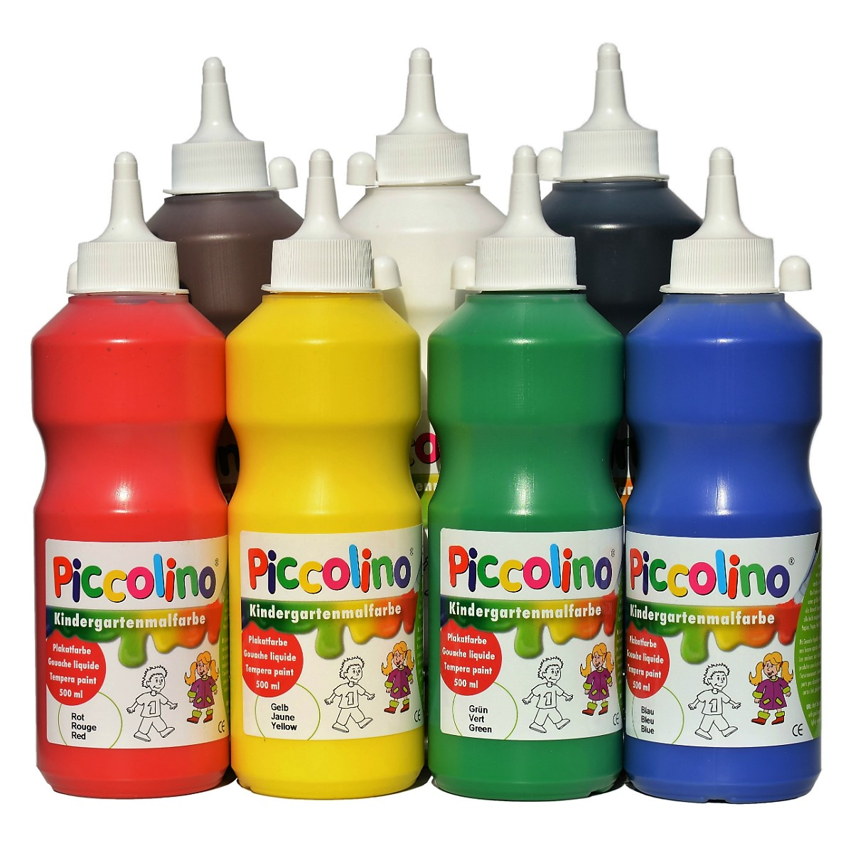 Piccolino Kindermalfarben Set 7x500ml - Kindergarten Malfarben - Schulmalfarben Set
