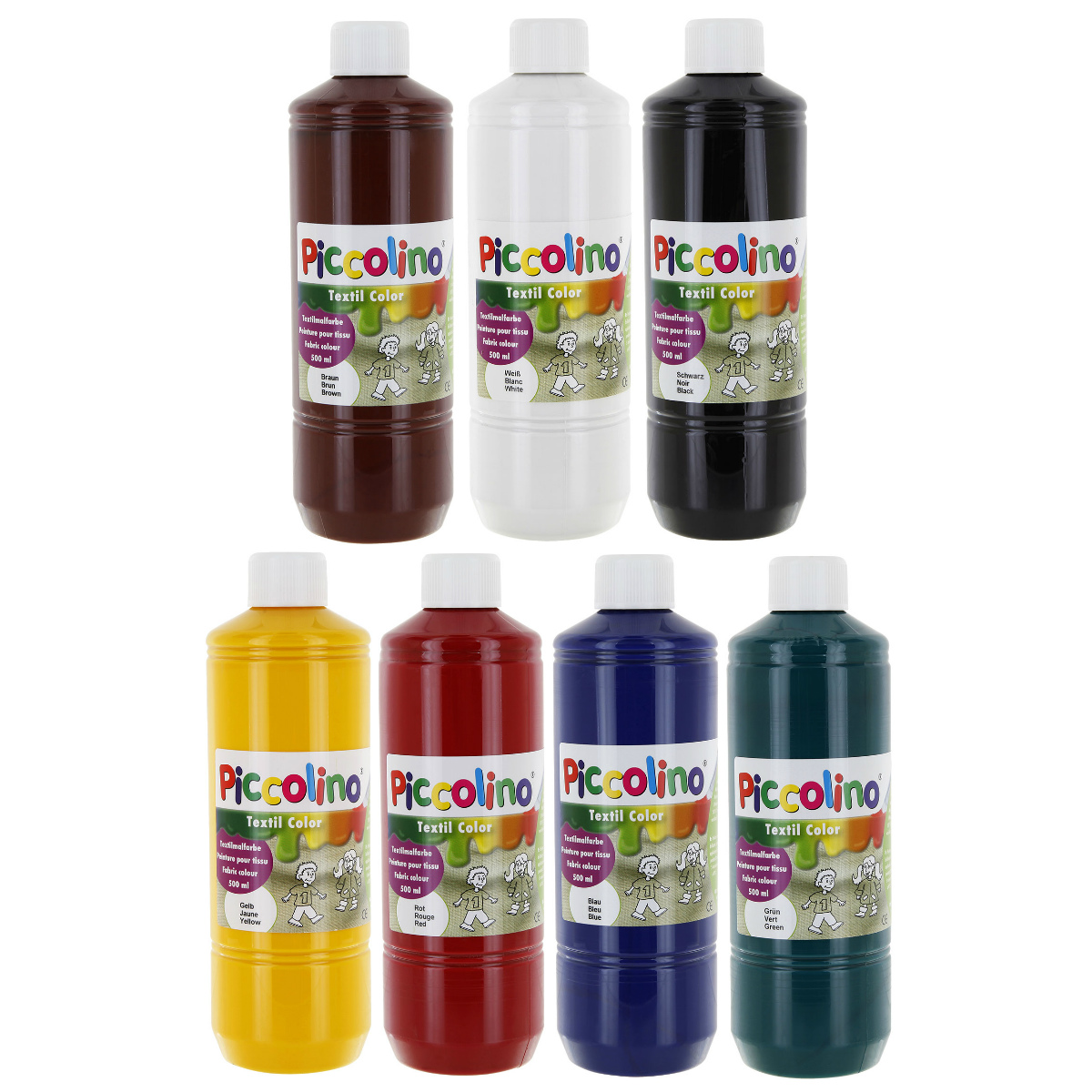Textilfarben - PICCOLINO Stoffmalfarben Set - 7 Farben zu je 500ml