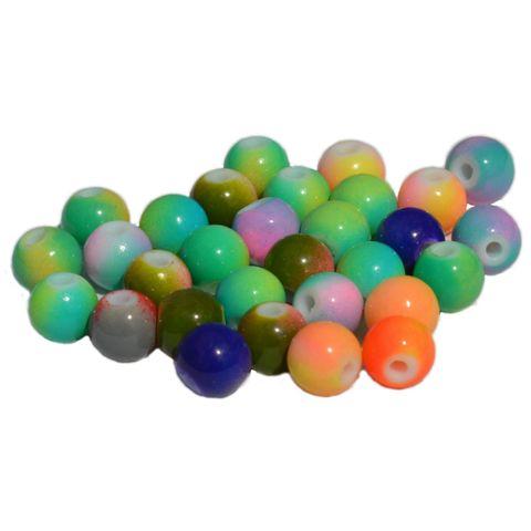 Glasperlen-Sortiment Prinzessin Großpackung 1kg, 10 Farben, 8mm zum Auffädeln – Bild 1