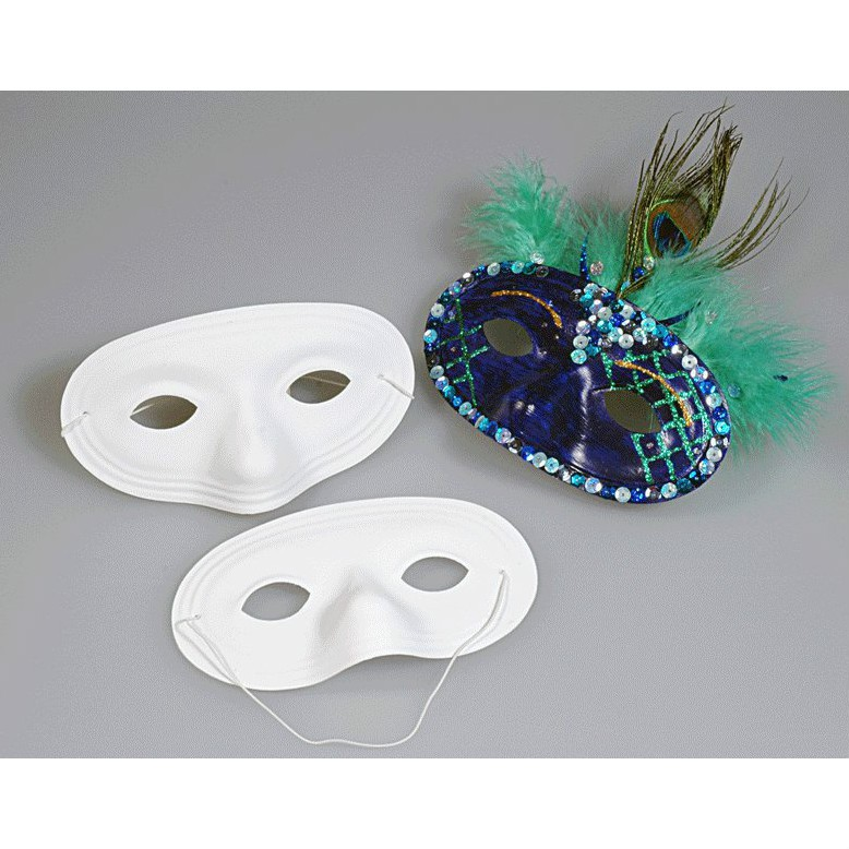 Augenmaske - 12 Augenmasken Kunststoff weiß blanko zum Basteln und Bemalen
