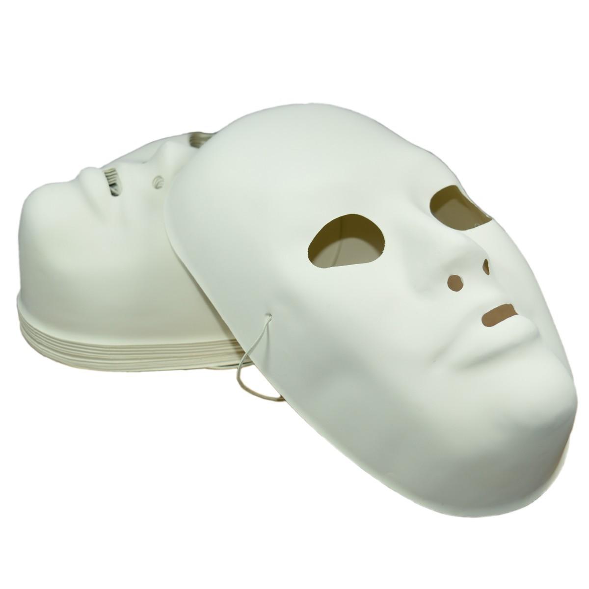 Maske Erwachsene - 12 Fastnachtsmasken Kunststoff weiß zum Bemalen, H 23cm