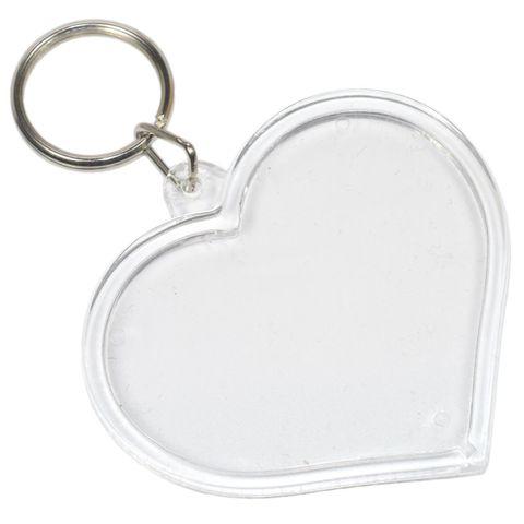 Foto Schlüsselanhänger Acryl Herz groß - Rohling für Passfoto Bild 6x4,5cm – Bild 1