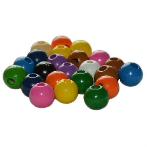 Holzperlen 12mm bunt 50 Stück zum Auffädeln für Kinder - Ketten basteln – Bild 1