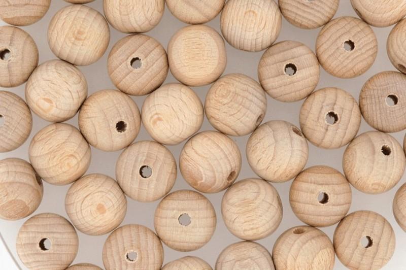 40 Holzperlen natur - Holzkugeln 20mm mit Bohrung - Roh-Holzkugeln durchbohrt