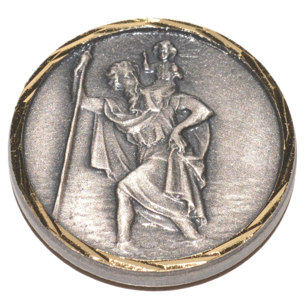 medaille st christophe en bronze argent plaque magnetique pour voiture objets de pi t. Black Bedroom Furniture Sets. Home Design Ideas