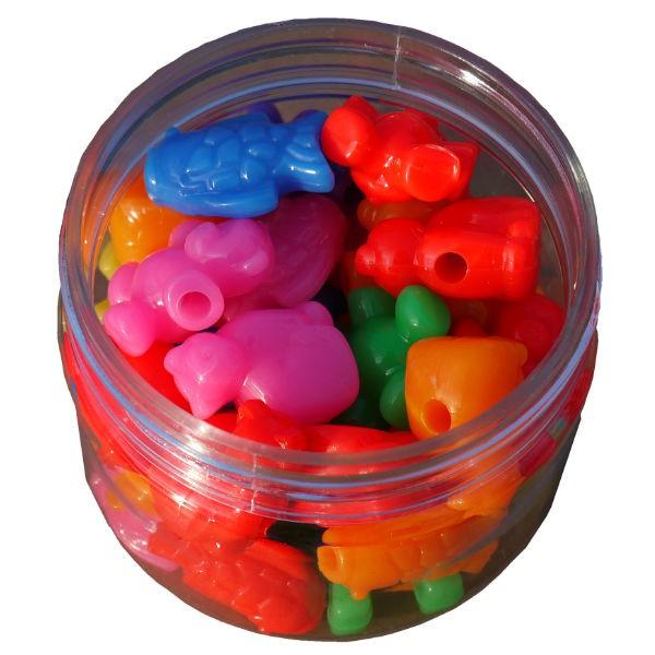 Kunststoff-Perlen Tiere zum Auffädeln 65g, 35 Stk - 4 Tiermotive bunt sortiert