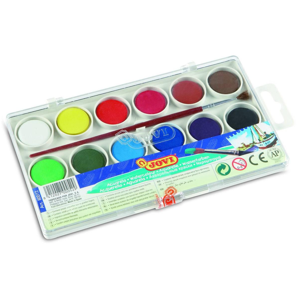JOVI Tuschkasten - Deckfarbkasten für Kinder - Wasserfarbkasten 12 Farben 22mm
