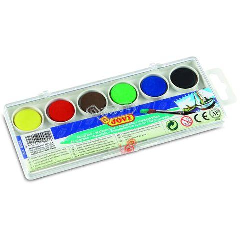 JOVI Tuschkasten - Deckfarbkasten für Kinder - Wasserfarbkasten 6 Farben 22mm