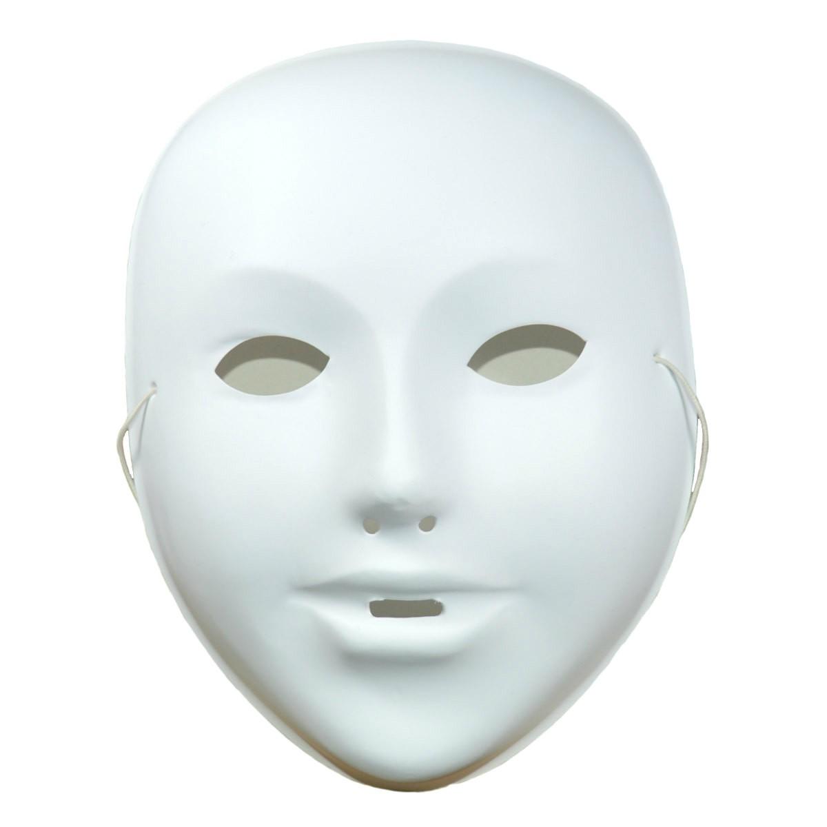 Kindermaske zum Bemalen Kunststoff weiß für Fasnacht, Karneval, H 18cm