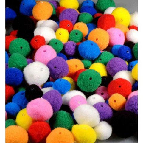 100 Pompons mit Loch für Pompom-Kette - Pom Poms zum Auffädeln