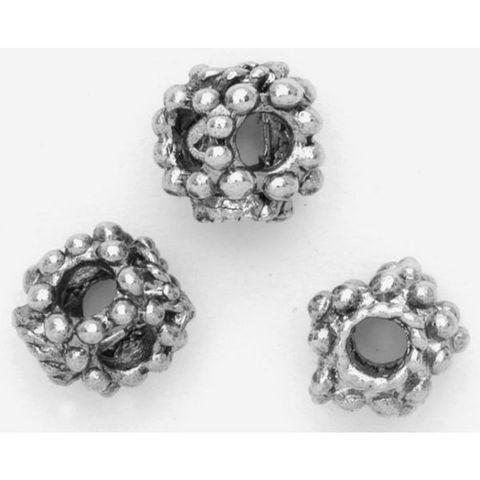 6 Metallperlen Alt-Silber 8x8mm Spacer Großlochperlen Metall Beads im Fünfeckformat