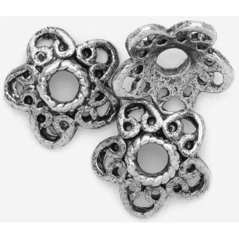 6 Perlenkappen antik-silber, Blüte 10mm - Metallperlen-Endkappen mit Großloch – Bild 1