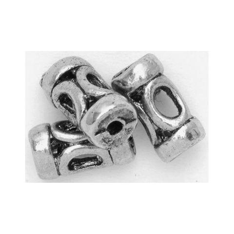 6 Metallperlen antik-silber 9x4mm Spacer Walzen Tube Großlochperlen – Bild 1