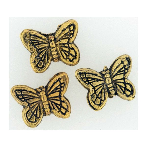 6 Metallperlen Schmetterling antik-gold 14x10mm