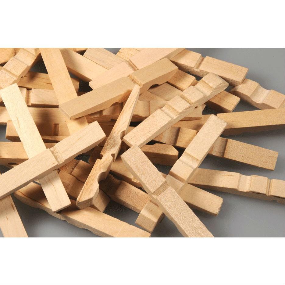 Halbe Wäscheklammern Holz 73mm 100 Stk - Wäscheklammern Hälften zum Basteln