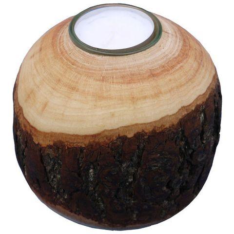 Rinden Teelichthalter, Kugel groß Ø 11cm - Deko Teelichtkugel Holz – Bild 2