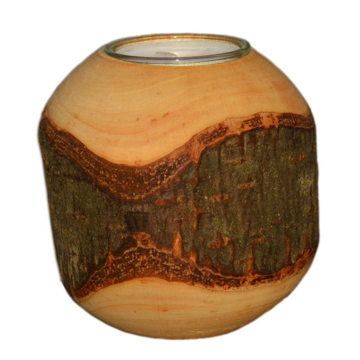 Rinden Teelichthalter, Kugel mittel Ø 9cm - Deko Teelichtkugel Holz