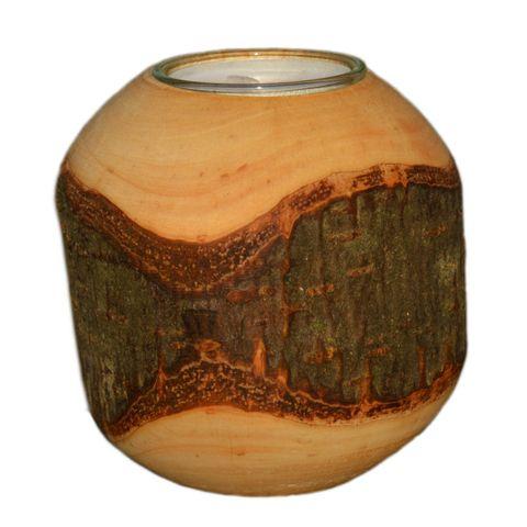 Rinden Teelichthalter, Kugel mittel Ø 9cm - Deko Teelichtkugel Holz – Bild 1