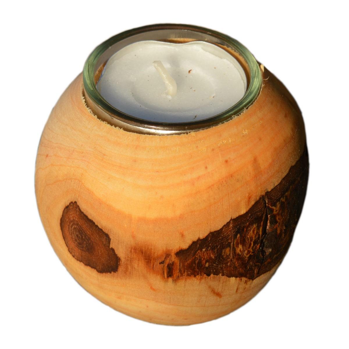 Rinden Teelichthalter, Kugel klein Ø 7cm - Deko Teelichtkugel Holz