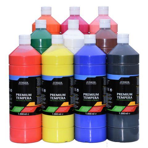 Schulmalfarben Set 10x1000ml - JUNKER Premium Tempera für Schule & Hobby – Bild 1