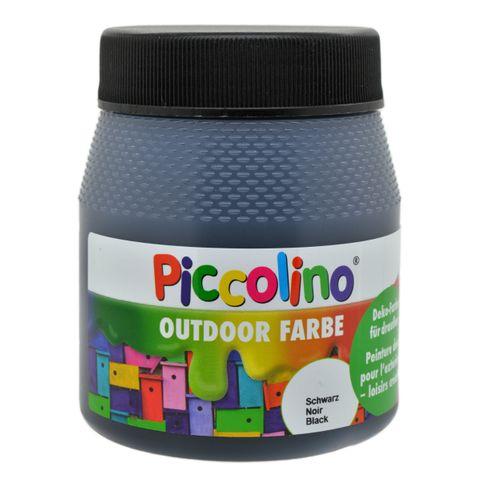 Piccolino Outdoor Dekofarbe Schwarz 250ml - umweltfreundliche Bastelfarbe für draußen