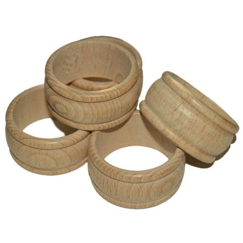 Serviettenring Holz unbehandelt 10 Stk - gedrechselter Serviettenring aus Holz – Bild 1