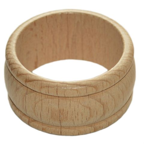 Serviettenring Holz unbehandelt - gedrechselter Serviettenring aus Holz – Bild 1