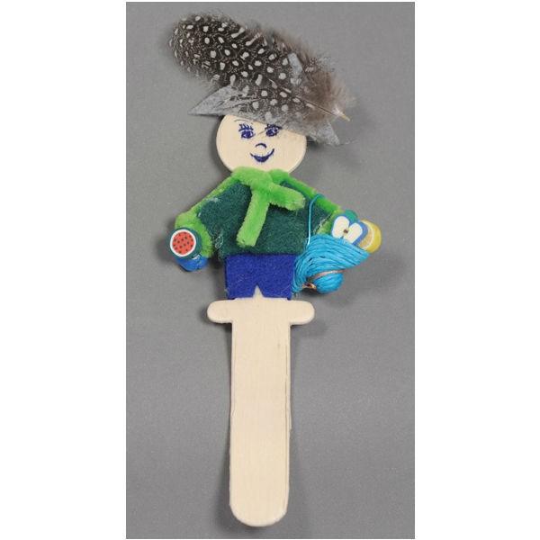 10 Holzfiguren - Mann & Frau je 5x - Blumentopfstecker Stabpuppe Holz natur