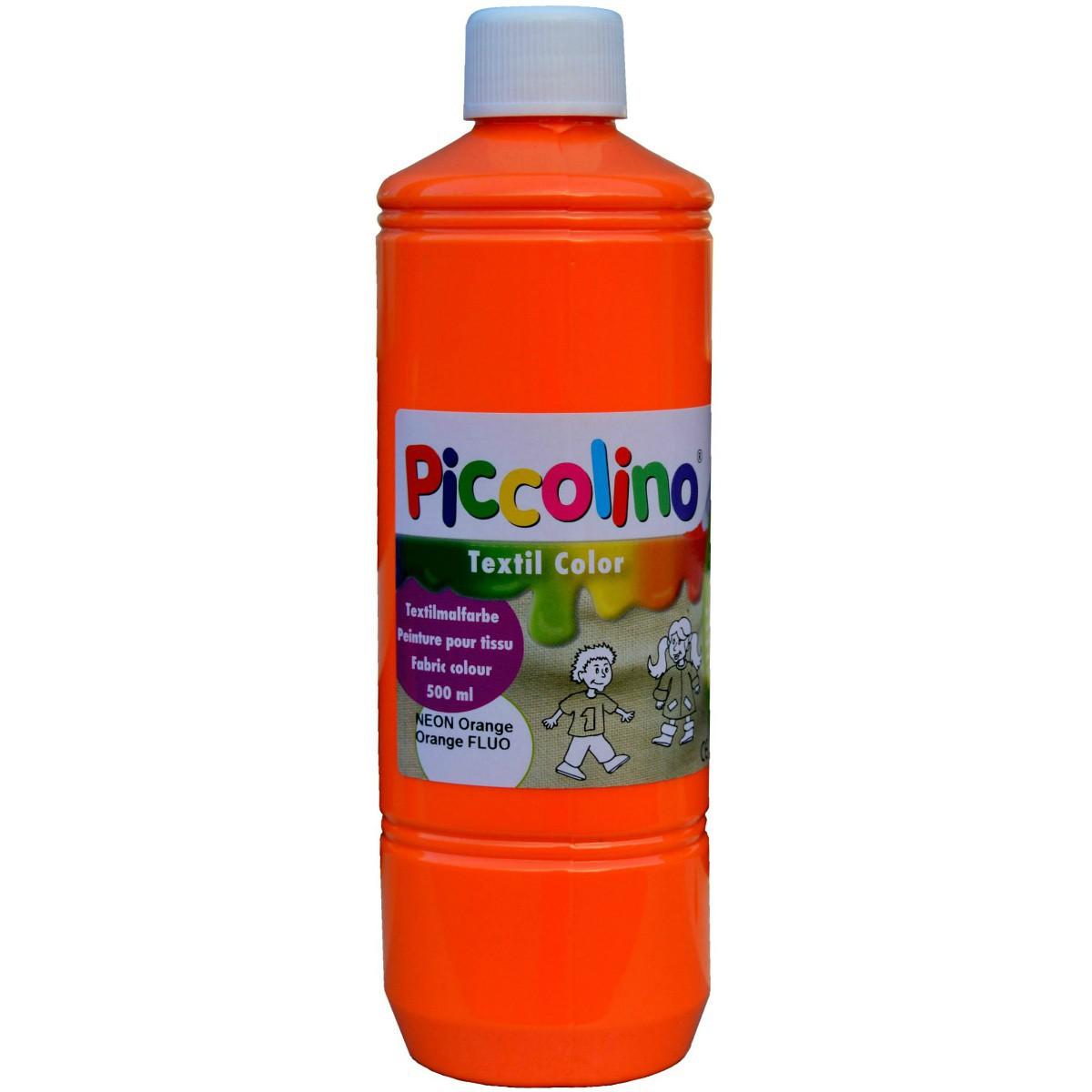 PICCOLINO Stoffmalfarben Neon - Textilfarben Set 5 Neon-Farben je 500ml