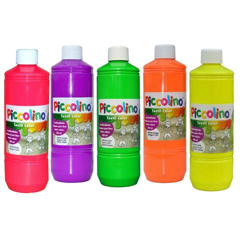 PICCOLINO Stoffmalfarben Neon - Textilfarben Set 5 Neon-Farben je 500ml – Bild 1
