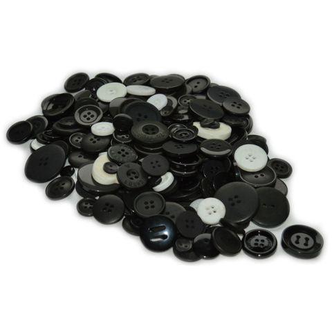 Knöpfe Schwarz & Weiß Mischpackung 500g zum Basteln – Bild 1