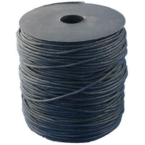 Baumwollschnur Baumwollkordel gewachst 2mm schwarz - 100m Rolle