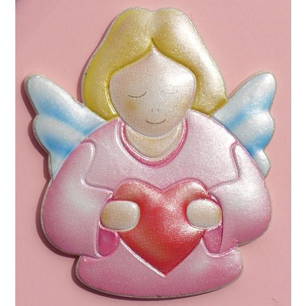 Engel Bild für Kinderzimmer - farbiges Engel Relief, Motiv Schutzengel mit  Herz - Bild zum Stellen, 9x8cm