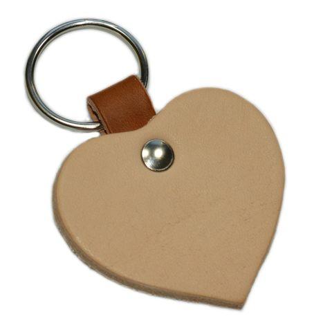 Schlüsselanhänger Herz aus Leder natur 4,8cm - geeignet zum Basteln & Bemalen
