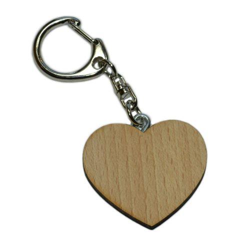 Schlüsselanhänger Herz aus Holz 4,3cm - geeignet zum Basteln & Bemalen