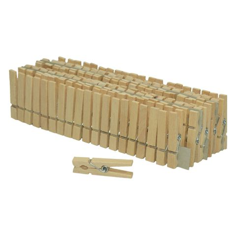 100 Mini Wäscheklammern Miniklammern - Holz natur 45x6mm klein – Bild 1