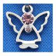 Schmuck Kette mit Anhänger Engel, Schutzengel silbern mit rosa Steinchen 45cm Bild 2