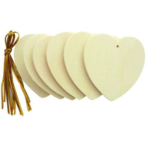 Holzherzen zum Hängen 6cm - Holz natur zum Basteln & Bemalen, 6er-Pack