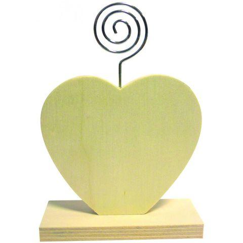 Memohalter Holz, Herz 13x9x3,5cm mit Spirale als Zettelhalter zum Selbstgestalten – Bild 1