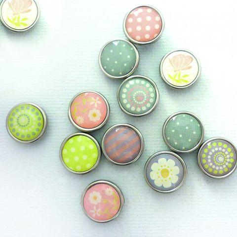 12 Magnete farbig zum Basteln - Epoxy Scheibenmagnete Ø 10 x 4mm Frühlingsmotive – Bild 1