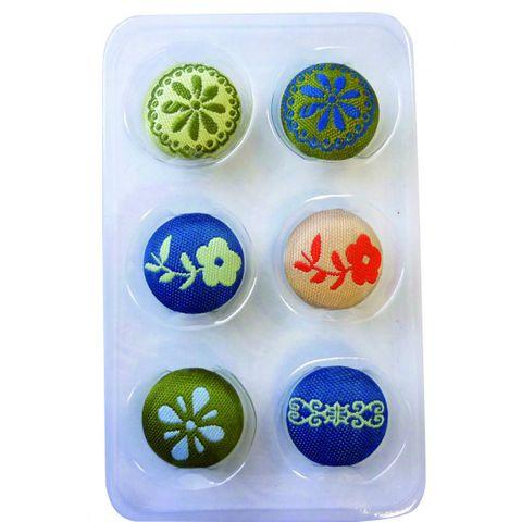6 Magnete farbig, rund - Stoff bedeckt - zum Basteln, Motive Natur, Ø 17mm