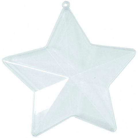 Acrylstern teilbar - Kunststoff Stern glasklar 5-zackig, Ø 10cm, 1 Stück
