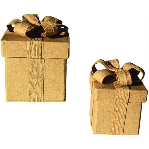 Pappschachtel mit Deckel & Schleife, Geschenk-Box 5x5xH6,6cm – Bild 2