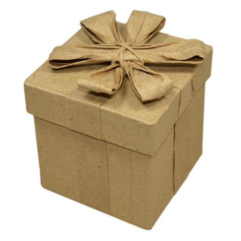 Pappschachtel mit Deckel & Schleife, Geschenk-Box 5x5xH6,6cm – Bild 1