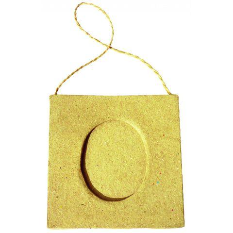 Karton Bilderrahmen oval - Pappe natur Fotorahmen zum Bemalen, hängend 75x75mm