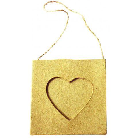 Karton Bilderrahmen Herz - Pappe natur Fotorahmen zum Bemalen, hängend 75x75mm